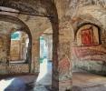Gaze on colourful ancient frescoes in Ostia Antica
