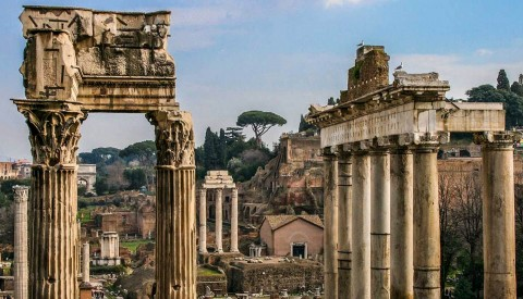 Wander through the imposing ruins of the Roman Forum