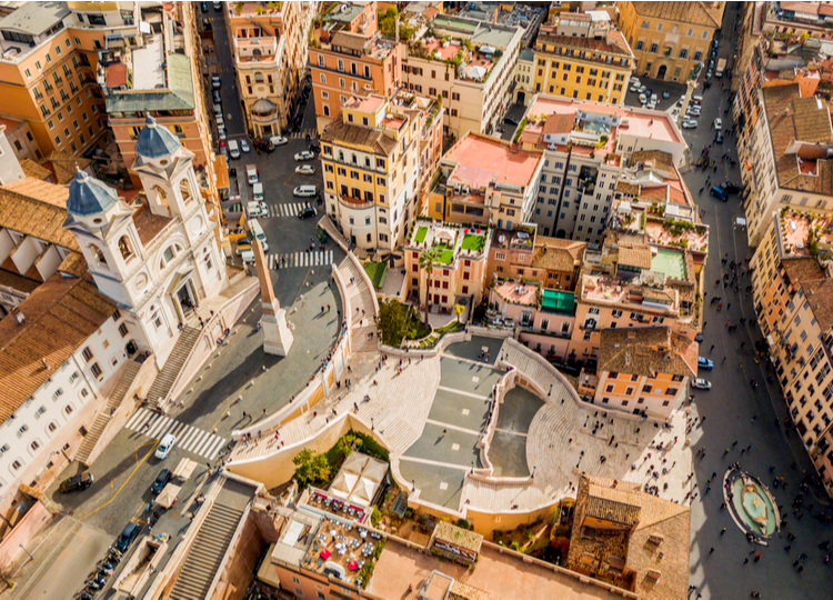 Aerial view of Piazza di Spagna and Spanish Steps in Rome