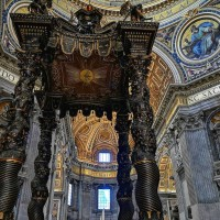 Explore incredible St. Peter's basilica and gaze up at Bernini's enormous bronze baldachin