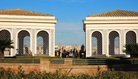 Enjoy spectacular views from the Farnese gardens atop the Palatine Hill
