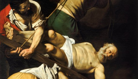 Admire the daring realism of Caravaggio's Martyrdom of Saint Peter in the Cerasi chapel